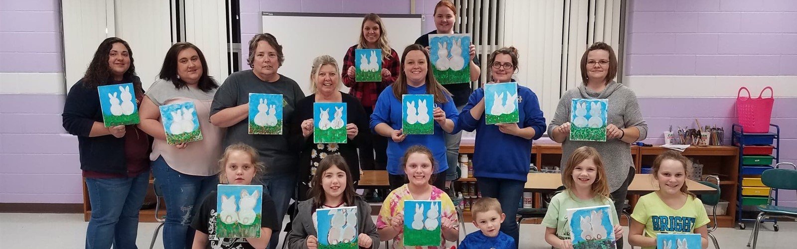 Families enjoyed painting together at a Family Fun Event!