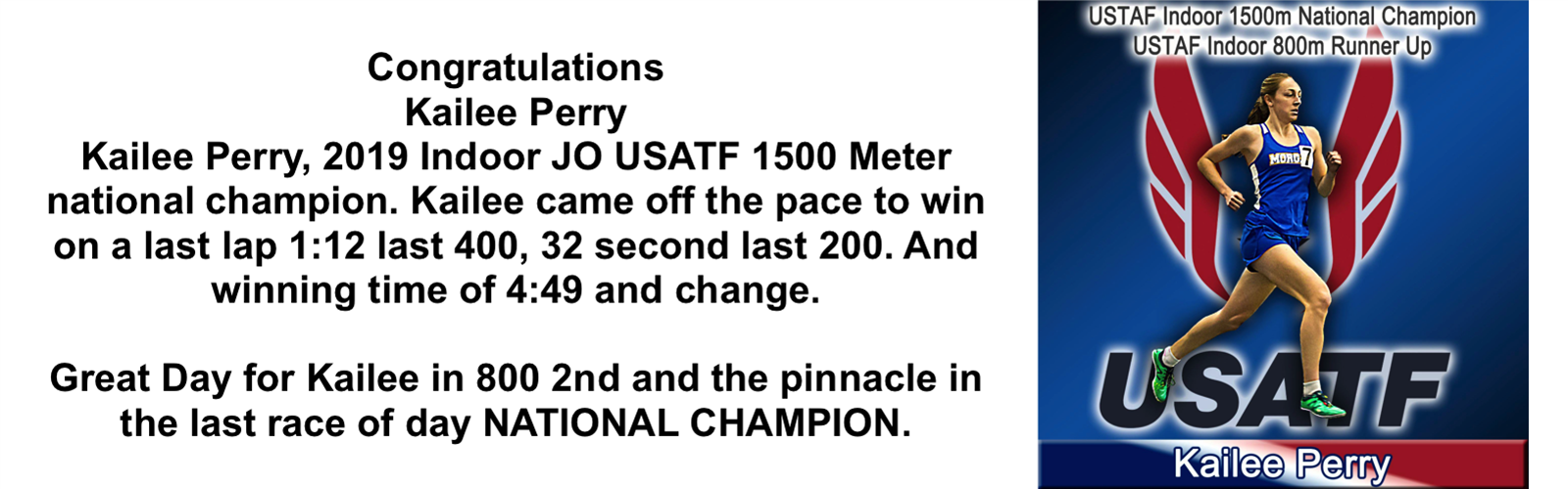 Kailee Perry, 2019 Indoor USATG 1500M NATIONAL CHAMPION